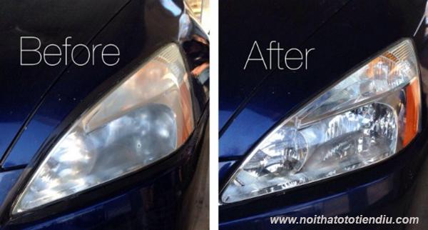 hiệu quả phủ nano đánh bóng đèn ô tô