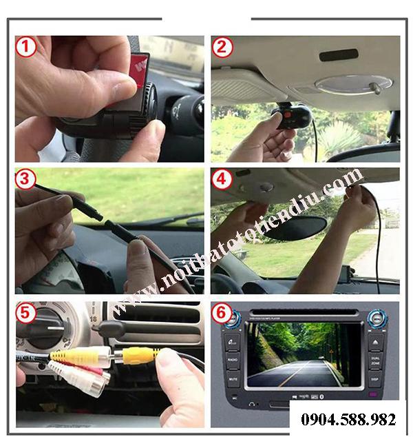lắp camera hành trình trên DVD ô tô