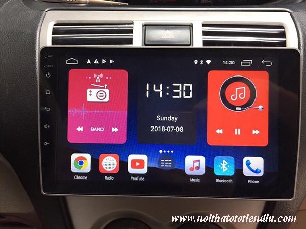 Màn hình android cắm sim 4G xe Toyota Vios
